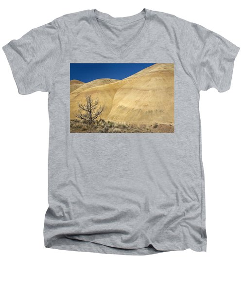 Men's V-Neck T-Shirt featuring the photograph Painted Hills Tree by Sonya Lang