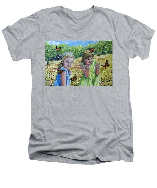 Painted Ladies Men's V-Neck T-Shirt by Gail Butler