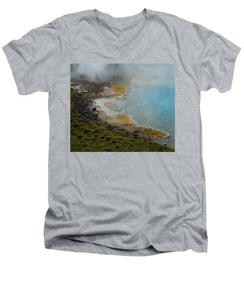 Painted Pool Of Yellowstone Men's V-Neck T-Shirt by Michele Myers