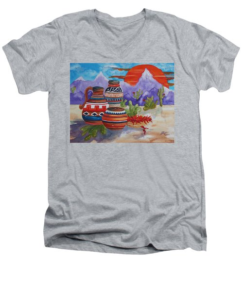 Painted Pots And Chili Peppers Men's V-Neck T-Shirt by Ellen Levinson