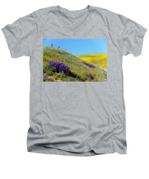 Painted With Wildflowers Men's V-Neck T-Shirt by Lynn Bauer