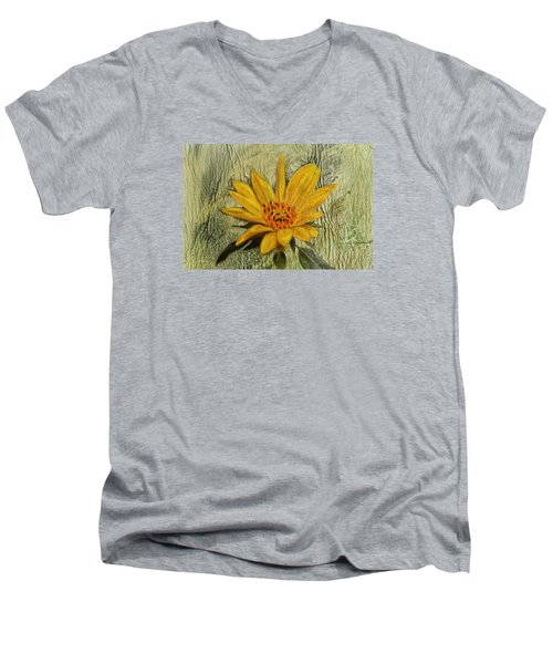 Painterly Sunflower Men's V-Neck T-Shirt by Sandi OReilly