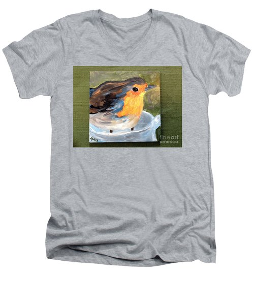 Men's V-Neck T-Shirt featuring the painting Pajarito  by Reina Resto