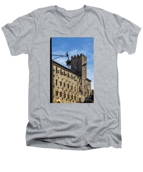 Palazzo Pretorio And The Tower Of Little Pig Men's V-Neck T-Shirt