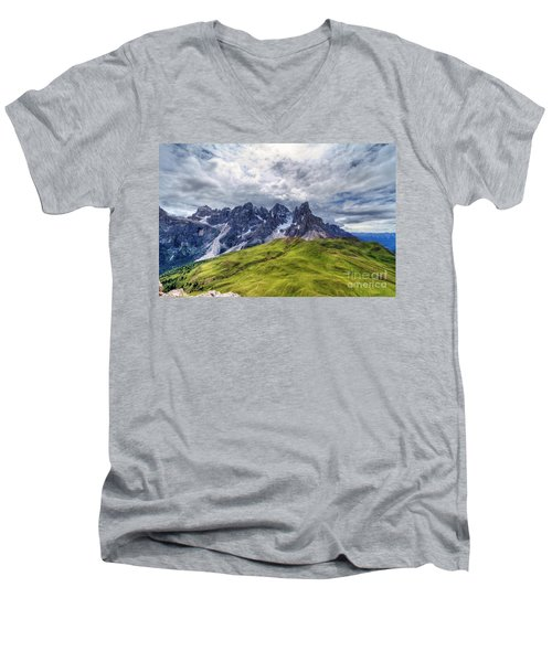 Men's V-Neck T-Shirt featuring the photograph Pale San Martino - Hdr by Antonio Scarpi
