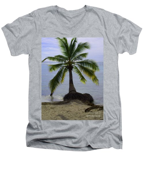Palm At The Edge Of The Sea Number Two Men's V-Neck T-Shirt by Heather Kirk