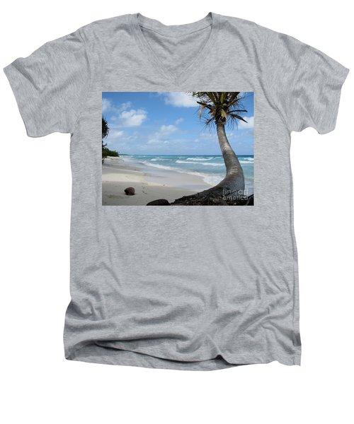 Palm Tree On The Beach Men's V-Neck T-Shirt