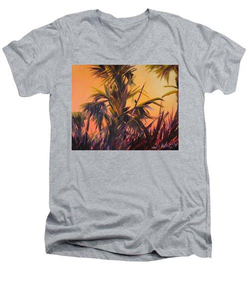Palmettos At Dusk Men's V-Neck T-Shirt
