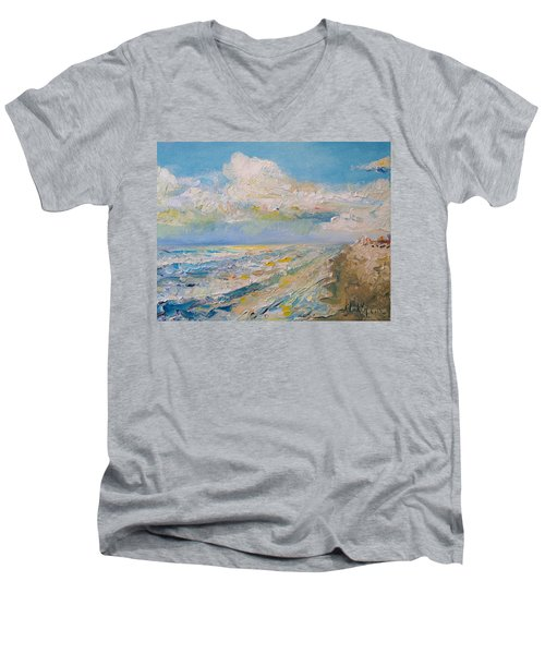 Men's V-Neck T-Shirt featuring the painting Panama City Beach by Alan Lakin