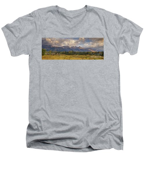 Panaroma Clearing Storm On A Fall Morning In Grand Tetons National Park Men's V-Neck T-Shirt