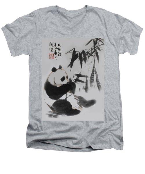 Men's V-Neck T-Shirt featuring the photograph Panda And Bamboo by Yufeng Wang