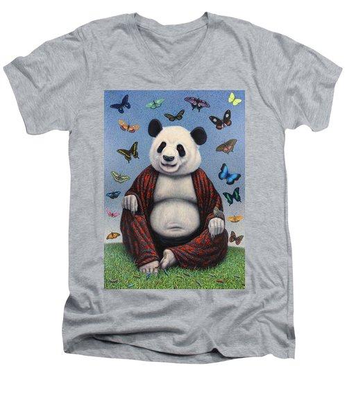 Panda Buddha Men's V-Neck T-Shirt by James W Johnson