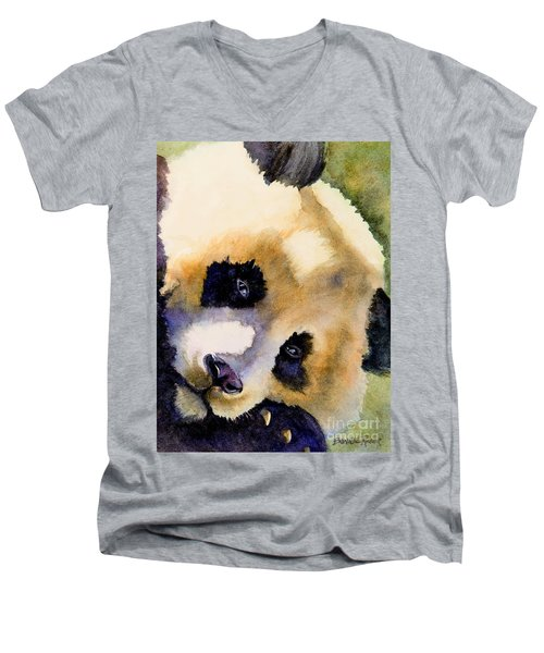 Men's V-Neck T-Shirt featuring the painting Panda Cub by Bonnie Rinier
