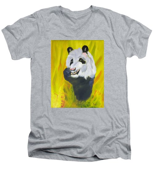 Men's V-Neck T-Shirt featuring the painting Panda-monium by Meryl Goudey
