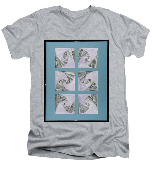 Men's V-Neck T-Shirt featuring the mixed media Panes by Ron Davidson