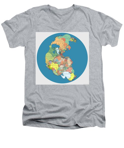 Pangaea Politica By Massimo Pietrobon Men's V-Neck T-Shirt