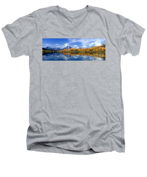 Panorama Fall Morning At Oxbow Bend Grand Tetons National Park Men's V-Neck T-Shirt by Dave Welling