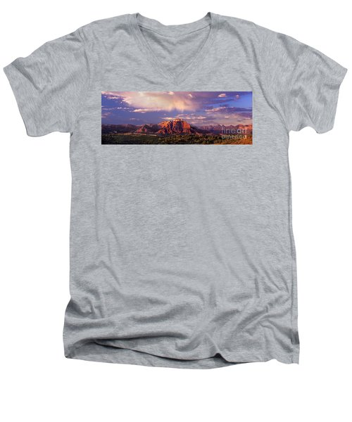 Panorama West Temple At Sunset Zion Natonal Park Men's V-Neck T-Shirt by Dave Welling
