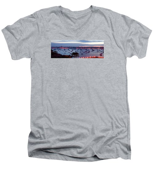 Panoramic Of The Marblehead Illumination Men's V-Neck T-Shirt by Jeff Folger