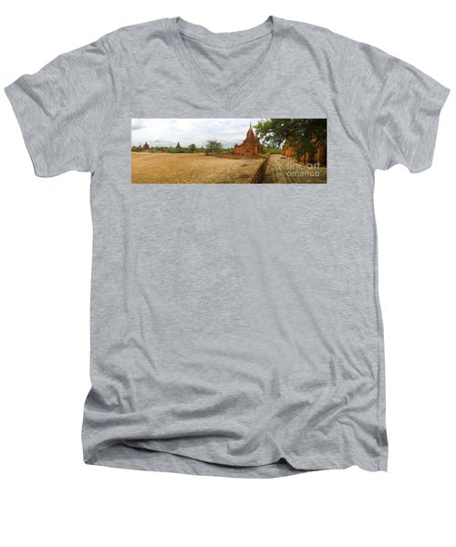 Men's V-Neck T-Shirt featuring the photograph Panoramic View Next To Dhammayazika Pagoda Built In 1196 By King Narapatisithu by Ralph A  Ledergerber-Photography