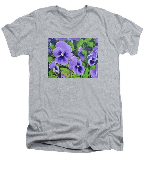 Pansies Schmanzies Men's V-Neck T-Shirt by Donna  Manaraze