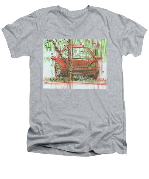 Men's V-Neck T-Shirt featuring the painting Papa John's by Donald Maier
