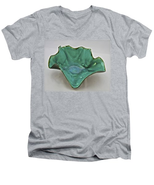 Men's V-Neck T-Shirt featuring the sculpture Paper-thin Bowl  09-009 by Mario Perron