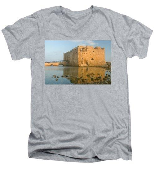 Paphos Harbour Castle Men's V-Neck T-Shirt by Jeremy Voisey
