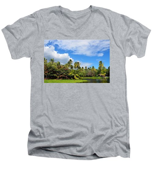 Men's V-Neck T-Shirt featuring the photograph Paradise Lagoon by David Lawson