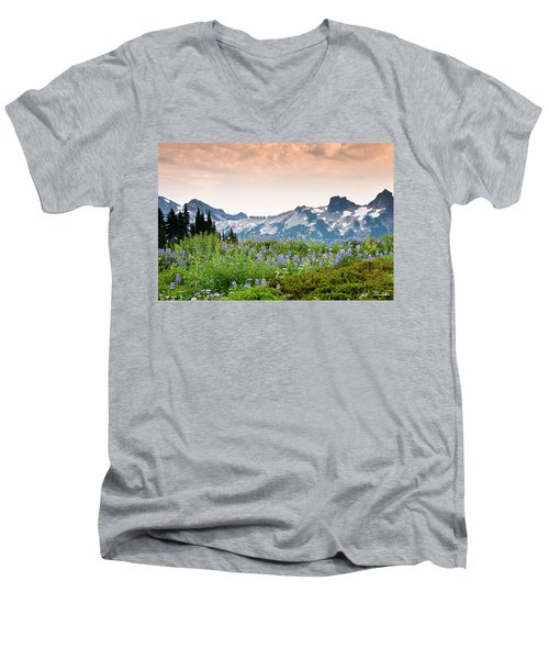 Paradise Meadows And The Tatoosh Range Men's V-Neck T-Shirt by Jeff Goulden