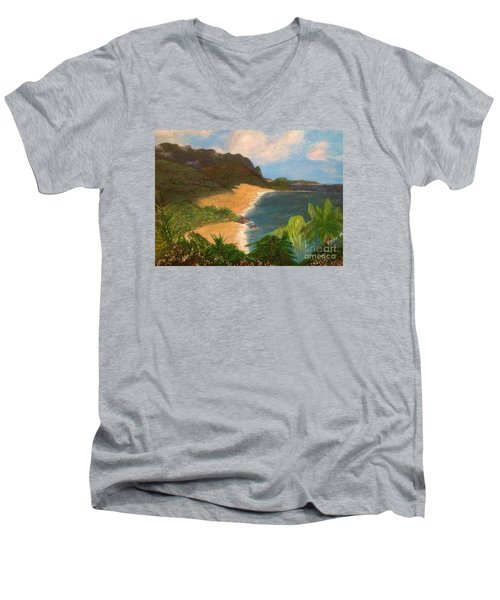Men's V-Neck T-Shirt featuring the painting Paradise by Vanessa Palomino