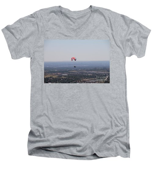 Men's V-Neck T-Shirt featuring the photograph Paragliding Over Golden by Chris Thomas