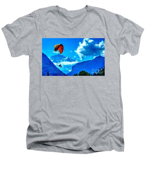 Men's V-Neck T-Shirt featuring the photograph Parasailing Swiss Alps by Joe  Ng