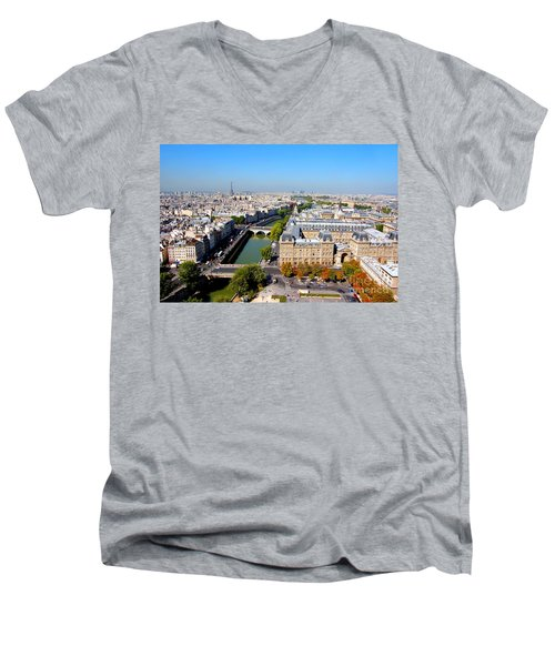 Paris Men's V-Neck T-Shirt by Michal Bednarek
