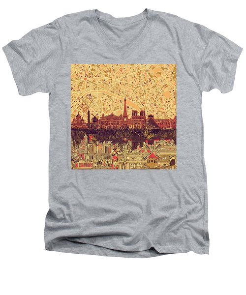 Paris Skyline Abstract Sepia Men's V-Neck T-Shirt