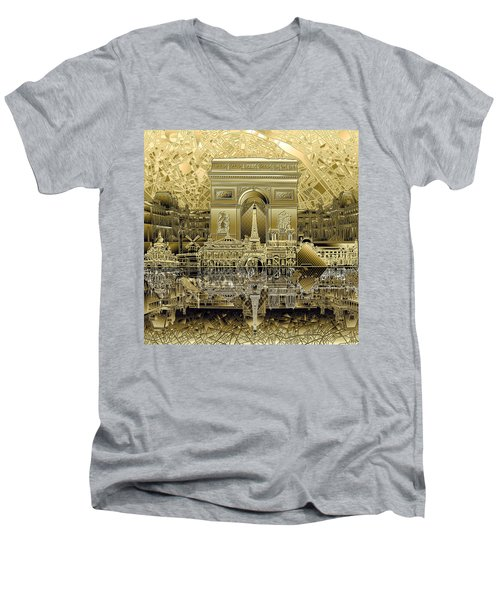 Paris Skyline Landmarks 4 Men's V-Neck T-Shirt