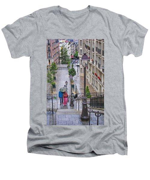Paris Sous La Pluie Men's V-Neck T-Shirt