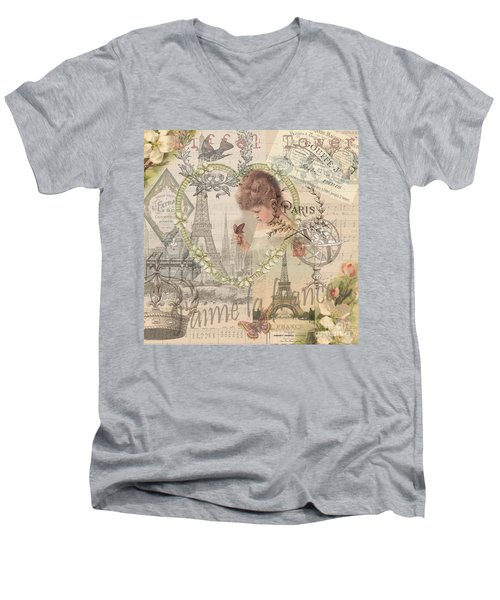 Paris Vintage Collage With Child Men's V-Neck T-Shirt
