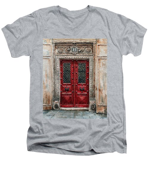 Parisian Door No.82 Men's V-Neck T-Shirt by Joey Agbayani