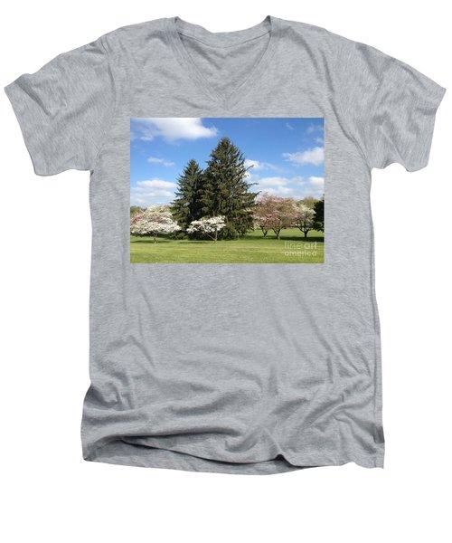 Men's V-Neck T-Shirt featuring the photograph Cedar Beach Park  by Jeannie Rhode