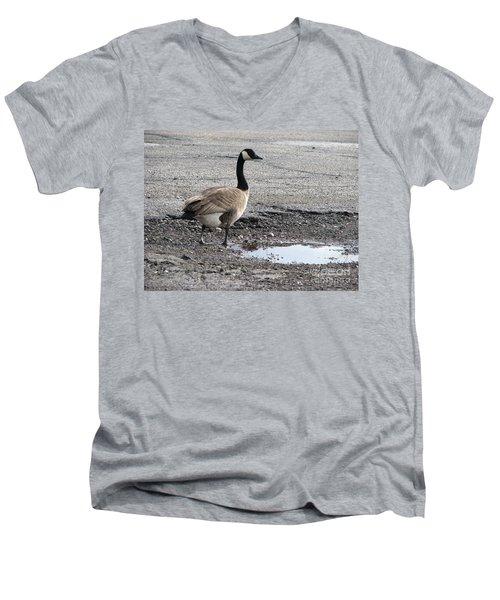 Men's V-Neck T-Shirt featuring the photograph Parking Lot Attendant by Michael Krek