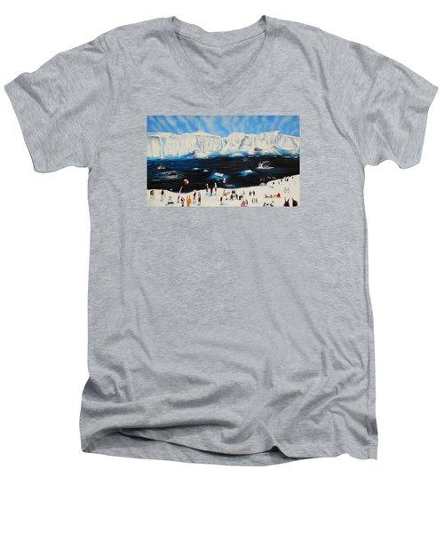 Party At Antarctic Men's V-Neck T-Shirt by Raymond Perez