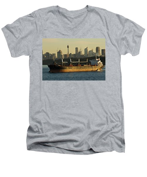 Men's V-Neck T-Shirt featuring the photograph Passing Sydney In The Sunset by Miroslava Jurcik