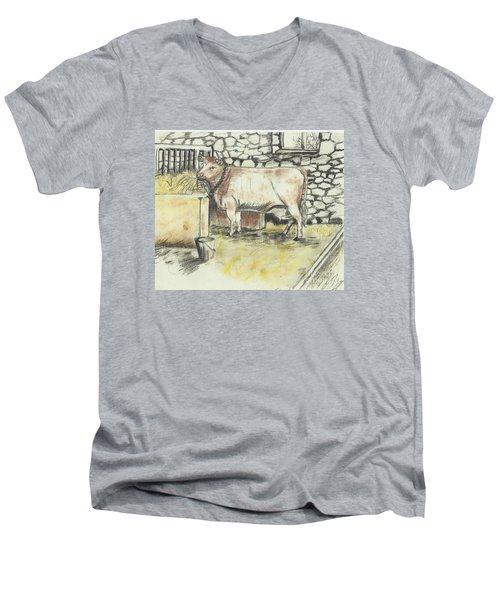 Cow In A Barn Men's V-Neck T-Shirt by Francine Heykoop