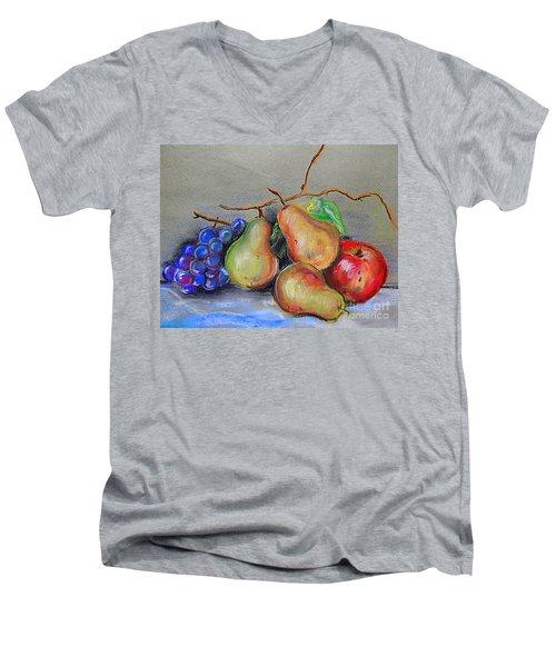 Pastel Pear Still Life Men's V-Neck T-Shirt by Michael Hoard
