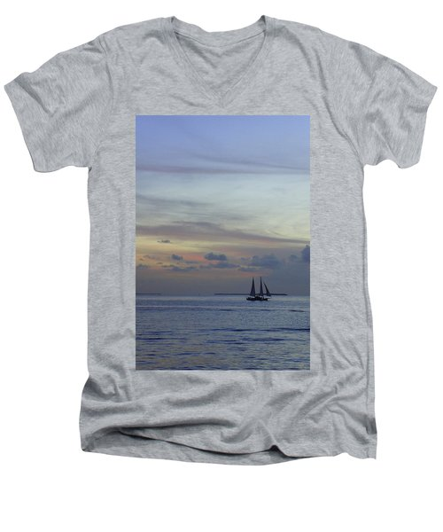 Men's V-Neck T-Shirt featuring the photograph Pastel Sky by Laurie Perry