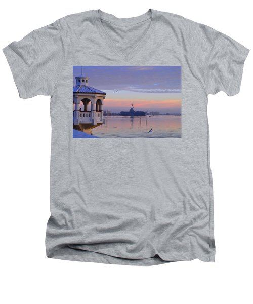 Pastel Uss Lexington Men's V-Neck T-Shirt by Leticia Latocki