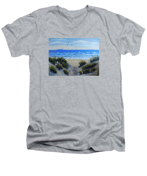 Path Through The Sand Dunes Men's V-Neck T-Shirt by Pamela  Meredith