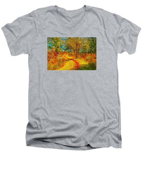 Path Through The Woods Men's V-Neck T-Shirt by William Beuther
