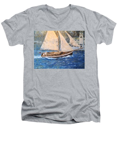 Men's V-Neck T-Shirt featuring the painting Patriot At Catalina Lighthouse by Alan Lakin
